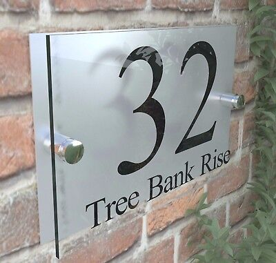 Contemporary HOUSE SIGN / PLAQUE / DOOR / NUMBERS / GLASS EFFECT ACRYLIC • 7.98£