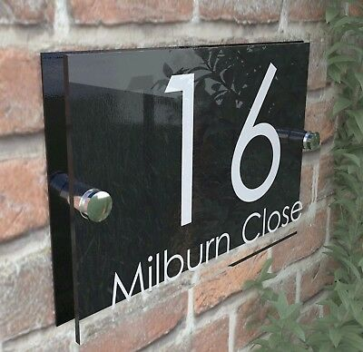 Modern HOUSE SIGN / PLAQUE / DOOR / NUMBERS / GLASS EFFECT ACRYLIC / Wall Signs • 7.98£