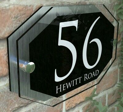 £8.99 • Buy Modern HOUSE PLAQUES / PLAQUE / DOOR / NUMBER / GLASS EFFECT ACRYLIC / Wall Sign