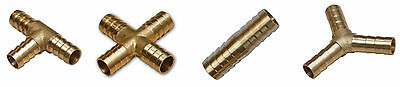BRASS T JOINER Various Piece Fuel Hose Gas Joiner TEE CONNECTOR (VARIOUS SIZE) • 4.09£