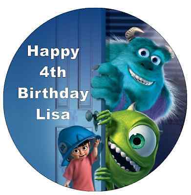 Monsters Inc Mike And Sully Personalised Wafer Paper Topper For Large Cake 7.5  • 1.85£