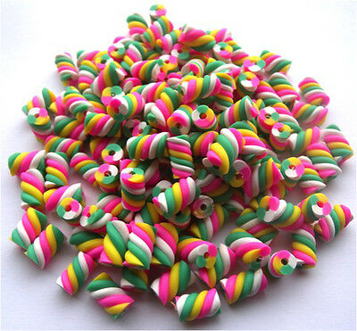 £4.99 • Buy 50 Pink White Yellow & Green Small Flump Marshmallow Beads With Clay / Fimo