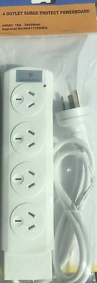 AU14.95 • Buy NEW 4 WAY SURGE PROTECTOR POWER BOARD - 4 OUTLETS New Arrival And Design