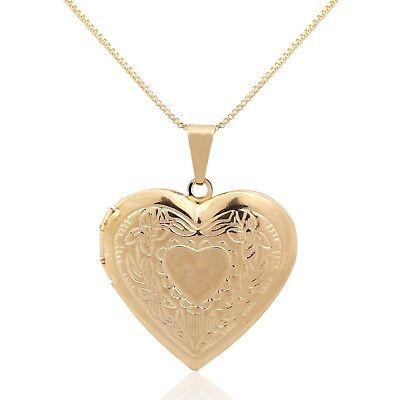 New 9CT Gold Large Double Heart Locket Necklace Pendant And  20'' Chain  B22 • 23.99£