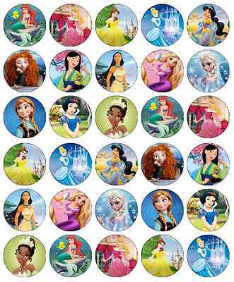 £3.99 • Buy 30 X Disney Princess Cupcake Toppers Edible Wafer Paper Fairy Cake Toppers