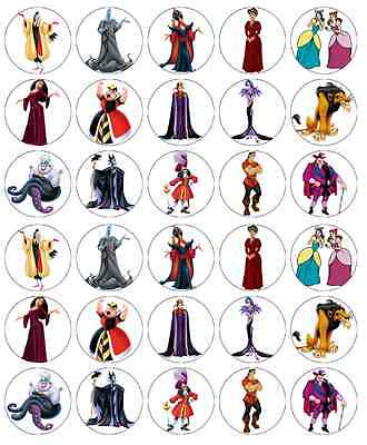 £3.99 • Buy 30x Disney Princess Villains Cupcake Toppers Edible Wafer Paper Fairy Cakes