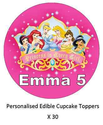£1.85 • Buy 30x Disney Princess Personalised Cupcake Toppers Edible Wafer Paper Fairy Cakes