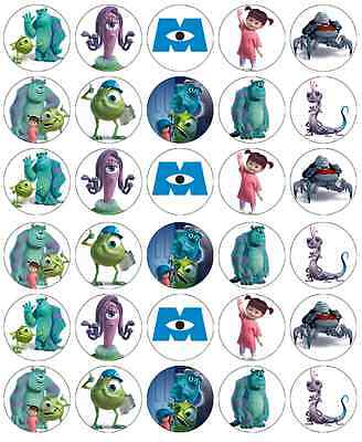 £3.99 • Buy 30 Monsters Inc Mike & Sully Cupcake Topper Edible Wafer Paper Fairy Cake Topper