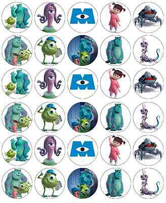 30 Monsters Inc Mike & Sully Cupcake Topper Edible Wafer Paper Fairy Cake Topper • 1.85£