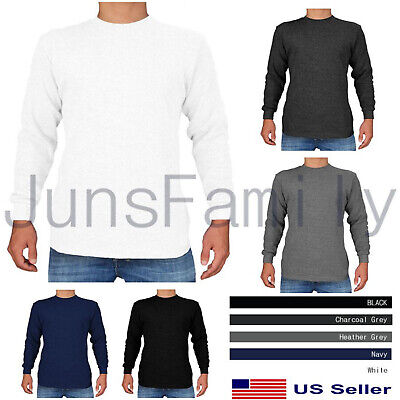 $12.95 • Buy Mens 100%COTTON THERMAL TOP Long Sleeve Waffle Shirts Crew Neck Underwear
