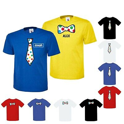 £8.99 • Buy Personalised Bow Tie Top Boys School 10%to Children In Need T-shirt Spotted Kids