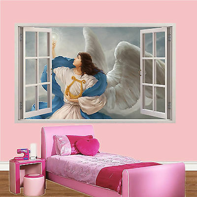 £14.99 • Buy Angel Wings Lyre Over Clouds 3d Window Wall Sticker Room Decoration Decal Mural