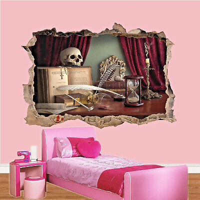 £14.99 • Buy Gothic Skull Red Velvet 3d Smashed Wall Sticker Room Decoration Decal Mural