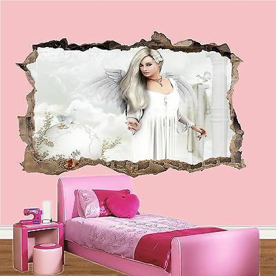 £14.99 • Buy Beautiful White Angel Heaven 3d Smashed Wall Sticker Room Decoration Decal Mural