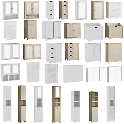 View Details Bathroom Cabinet Single Double Door Wall Mounted Tallboy Cupboard Wood White • 19.95£