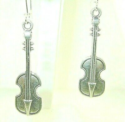 $ CDN12.52 • Buy New  Stand-up BASS Cello Violin Strings Silver-tone Dangle Earrings  2-1/2  Long