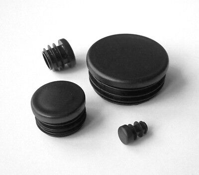 Round Plastic Blanking End Caps Tube Pipe Inserts Plugs Bungs / Black • 1.75£