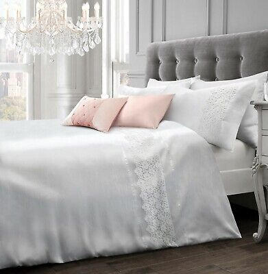 Luxury Faux Silk Lace Duvet Cover And Pillowcase(s) Bedding Set  • 25.95£