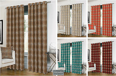 Luxurious Ring Top Eyelet Lined Plaid Check Ready Made Curtain Pair - 5 Colours • 44.95£