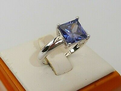 Ladies 925 Sterling Fine Silver 1.5 Carat Princess Cut Tanzanite Solitaire Ring • 29.99£
