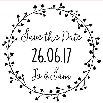AU20.22 • Buy Personalised Laser Rubber Stamp - Save The Date: Dainty Flowers