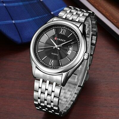 AU27.99 • Buy 30m Waterproof Men's Calendar Stainless Steel Casual Business Quartz Watches