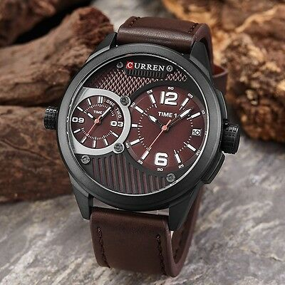 AU34.99 • Buy Men`s Waterproof Genuine Leather Double Movement Calendar Casual Quartz Watches