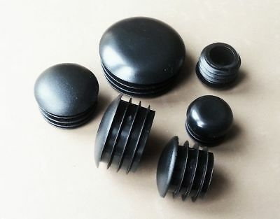Round End Caps Half Dome Plastic Blanking Plugs Pipe Tube Inserts  / BLACK • 1.56£
