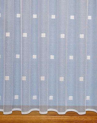 £2.90 • Buy Squares Modern Net Curtain ~ Width Sold By The Metre ~ Lace Voile Curtain Fabric