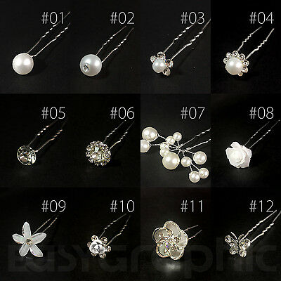 Bridal Hair Pins Rhinestone Pearl Diamante Flower Slide Clips Grips Wedding • 2.59£