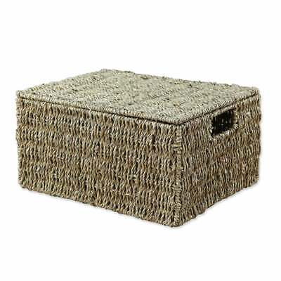 Seagrass Rectangular Lidded Storage Basket Natural Wicker Woven Gift Hamper Home • 12£