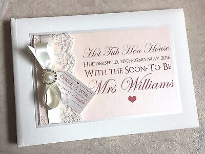 Fairytale | Luxury Diamante Pearl Ribbon & Lace Personalised Wedding Guest Book • 19.99£