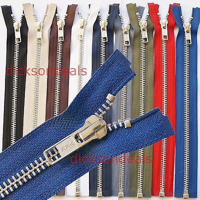 YKK Metal Silver Teeth Open Ended Zip - Choice Of Length & Colour - No 5 Weight • 3.55£