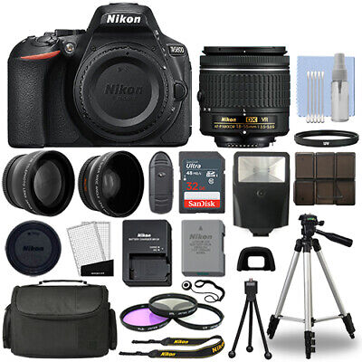 View Details Nikon D5600 Digital SLR Camera Black + 3 Lens: 18-55mm VR Lens + 32GB Bundle • 539.95$