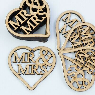 MR & MRS  Love Hearts Tags Hanging MDF Wooden Wedding Rustic Crafts Decor Wood • 2.49£
