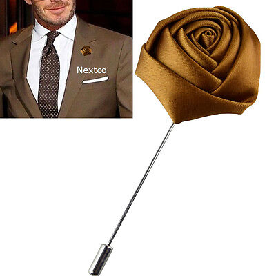 Lapel Flower Camellia Boutonniere Stick Brooch Pin Men's Suit Tie Blazer • 4.64£