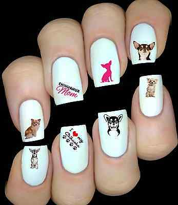 Chihuahua Dog Love Animal Nail Art Decals Stickers Water Transfers  • 1.99£