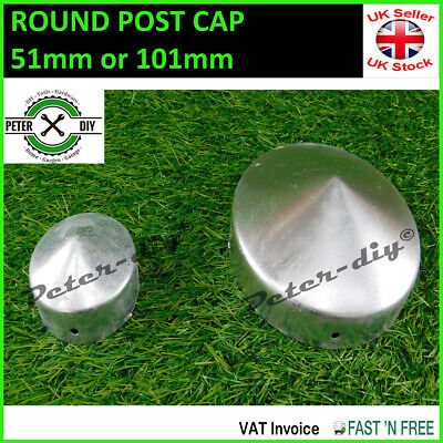 Round Metal Fence Gate Post Cap Caps Flange 44mm To 101mm  Pyramid  • 1.09£