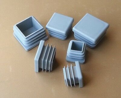 Square Plastic End Caps Blanking Plugs Tube Pipe Box Section Inserts / Grey • 6.30£