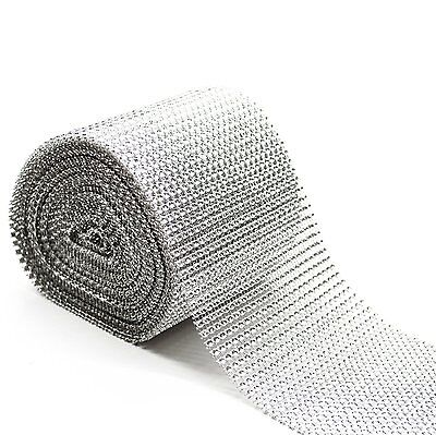 1 Metre Length - Silver Diamond Diamante Effect Ribbon Trim Cake Bridal Craft • 1.59£