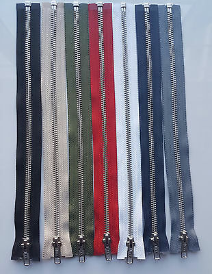 Ykk Brand Metal Silver Teeth Open Ended Zip (choice Of Length & Colour) Free P&p • 2.99£
