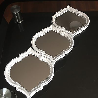 £14.99 • Buy SET OF 3 White MOROCCAN ART DECO Arched Wall MIRRORS WALL ART Moroccan MIRROR