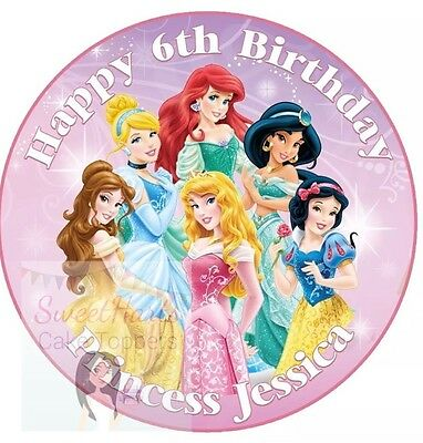 £5.99 • Buy Disney Princess Cake Topper Personalised Edible Icing Round 7.5 Inches Belle