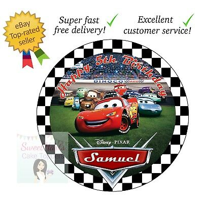 Cars Lightning Mcqueen Cake Topper 7.5 Inches Round Personalised Edible Icing • 5.99£