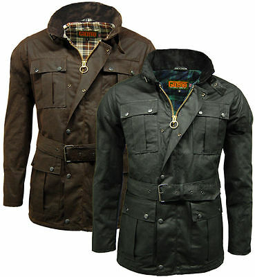 Mens Game Continental Belted Biker Wax Motorcycle Jacket • 59.95£