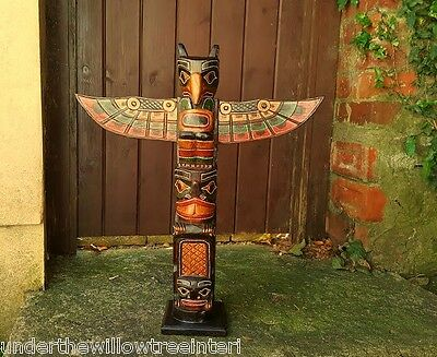 Wooden Totem Pole 60cm Hand Carved Garden Ornament Statue Tribal Native American • 37.99£