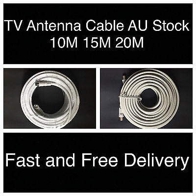AU4.89 • Buy 10m 15m 20m TV Antenna Cable PAL Male To Male Aerial Coaxial Video Lead + 2 Adap