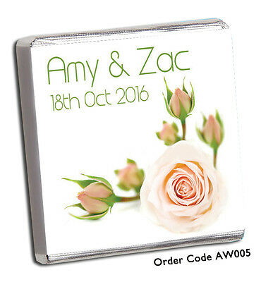 £11.99 • Buy 50 Personalised Chocolate Wedding Favours :-)  450+ DESIGNS FOR 2018!! FREE CHOC
