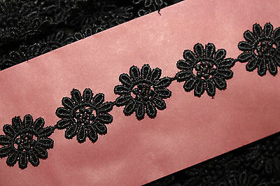 BLACK Dovecraft Guipure 25mm DAISY FLOWER LACE TRIM Antique Vintage Wedding  • 1.99£