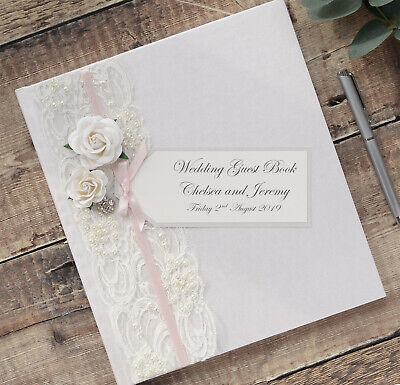 Large Personalised Wedding Guest Book. Luxury Ivory Vintage Rose & Lace Design. • 34.99£